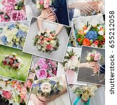 collage set wedding bouquets.... | Shutterstock . vector #655212058