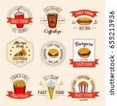 fast food meals icons for... | Shutterstock .eps vector #655213936