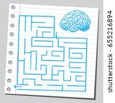brain in front of labyrinth | Shutterstock .eps vector #655216894