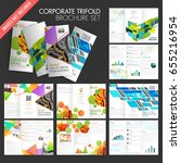 collection of trifold brochures ... | Shutterstock .eps vector #655216954