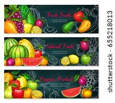 exotic fruits banners set of... | Shutterstock .eps vector #655218013