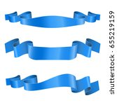 blue ribbon banners. shiny silk ... | Shutterstock .eps vector #655219159