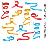 colored ribbon streamers.... | Shutterstock .eps vector #655219288