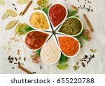 tasty fresh sauces in a form of ... | Shutterstock . vector #655220788