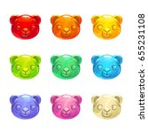 cute jelly bears faces. vector...