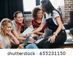 smiling multiethnic women... | Shutterstock . vector #655231150