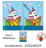 funny ship. find 10 differences.... | Shutterstock .eps vector #655238239