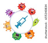 set of germs and virus vector... | Shutterstock .eps vector #655240834