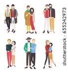 gay couples flat colorful... | Shutterstock . vector #655242973