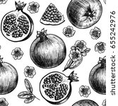 vector pomegranate hand drawn... | Shutterstock .eps vector #655242976