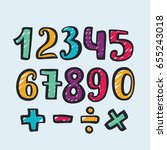 vector numbers hand drawn... | Shutterstock .eps vector #655243018
