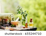 spa background with essential...   Shutterstock . vector #655244710