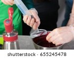 suction of souce into culinary... | Shutterstock . vector #655245478