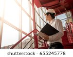 young asian engineer or... | Shutterstock . vector #655245778