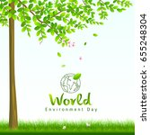 world environment day  tree and ... | Shutterstock .eps vector #655248304