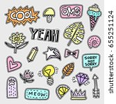 vector patch set   80s 90s... | Shutterstock .eps vector #655251124