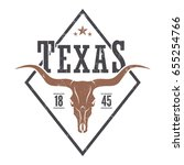 texas state tee print with... | Shutterstock .eps vector #655254766