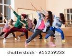 group of young hip hop dancers... | Shutterstock . vector #655259233
