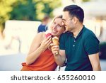 portrait of happy young couple... | Shutterstock . vector #655260010