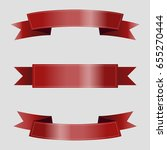 set of red ribbons on gray... | Shutterstock .eps vector #655270444
