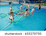 fitness group of girls doing... | Shutterstock . vector #655270750