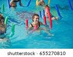 fitness group of girls doing... | Shutterstock . vector #655270810