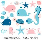 Stock vector cute vector ocean set with sea creatures for girls and boys summer baby shower and birthday designs 655272304