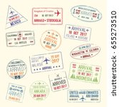 passport travel stamps icons... | Shutterstock .eps vector #655273510
