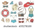 vector summer vintage set with... | Shutterstock .eps vector #655278100