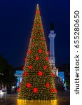 christmas tree on rossio square ... | Shutterstock . vector #655280650