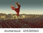 ballerina dances on rooftop | Shutterstock . vector #655285063