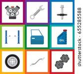 flat service set of spanner ...   Shutterstock .eps vector #655285588