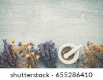 bunches of  healing herbs and... | Shutterstock . vector #655286410