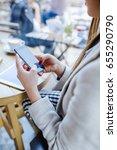 woman sitting in coffee shop... | Shutterstock . vector #655290790