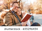 dating in the park. handsome... | Shutterstock . vector #655296454