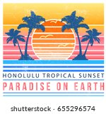 vintage tropical illustration ... | Shutterstock .eps vector #655296574