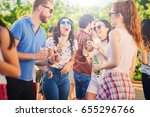 big group of people dancing at... | Shutterstock . vector #655296766