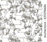 doodle unicorns seamless...   Shutterstock .eps vector #655298686