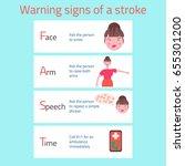 warning signs of brain stroke ... | Shutterstock .eps vector #655301200