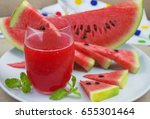 watermelon drink in glass with... | Shutterstock . vector #655301464