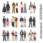 set of different subculture.... | Shutterstock . vector #655303864