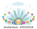 smart city with advanced... | Shutterstock .eps vector #655310518
