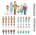 big family portrait vector set... | Shutterstock .eps vector #655310656