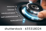 hand turning button to the... | Shutterstock . vector #655318024