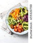 vegan buddha bowl. vegetarian... | Shutterstock . vector #655320700