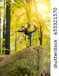yoga outdoors   sporty fit...   Shutterstock . vector #655321570