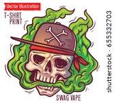 a brutal swag skull in smoke... | Shutterstock .eps vector #655332703