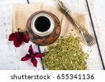traditional yerba mate tea... | Shutterstock . vector #655341136