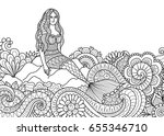 pretty mermaid sitting on stone ... | Shutterstock .eps vector #655346710