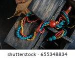 vintage color necklace in wood... | Shutterstock . vector #655348834